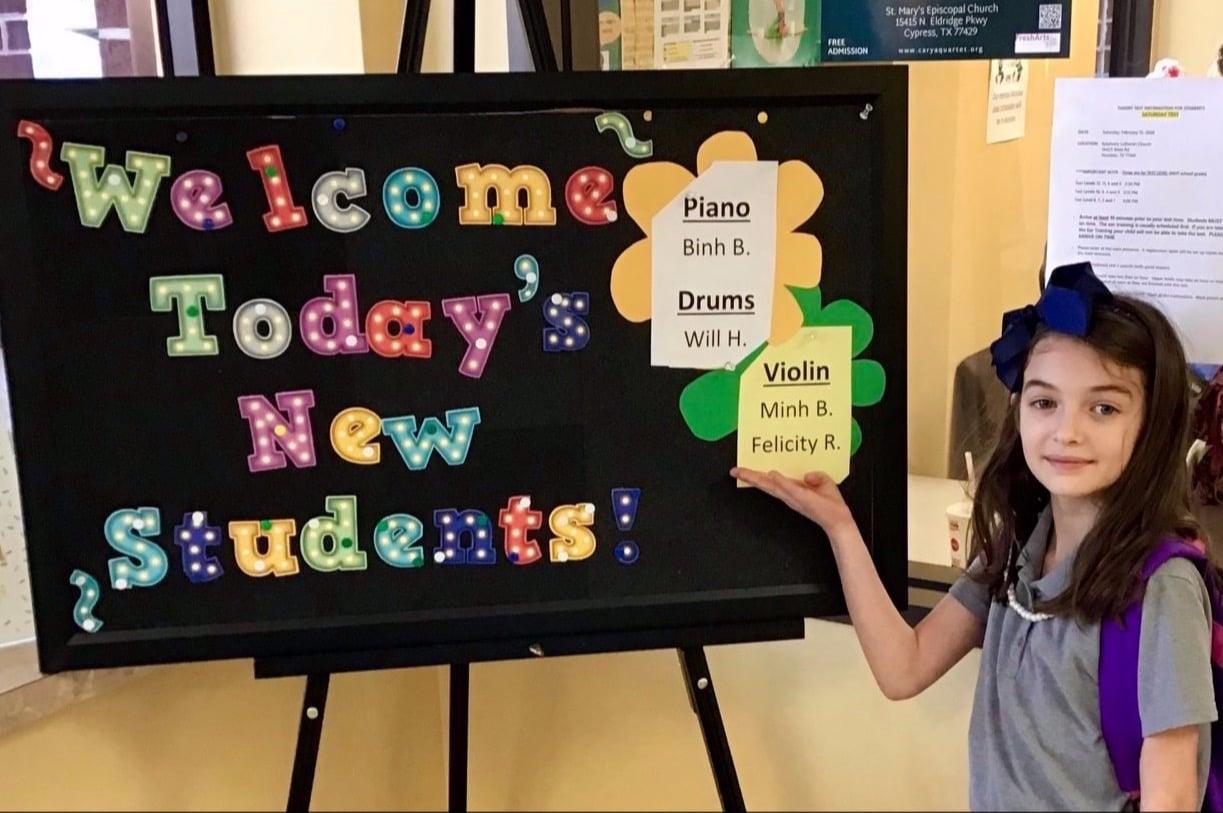 proud music lesson student