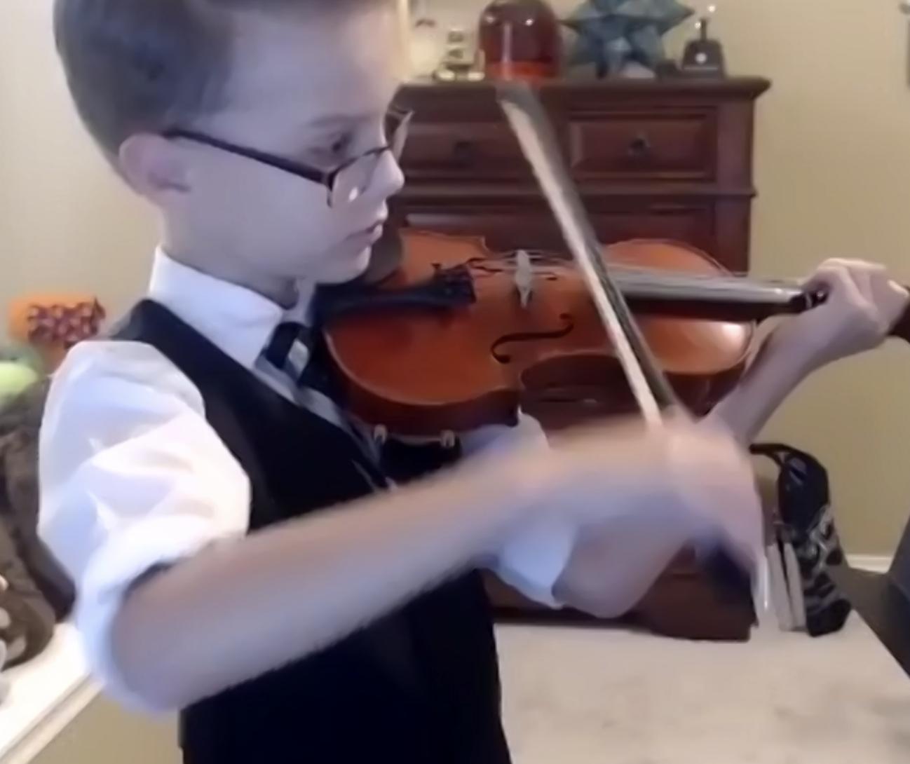 Liam violin lesson student Houston TX
